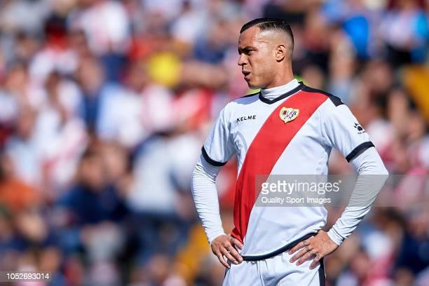 Raul de Tomas of Rayo Vallecano reacts during the La Liga match between Rayo Vallecano de Madrid and Getafe CF at Campo de Futbol de Vallecas on...