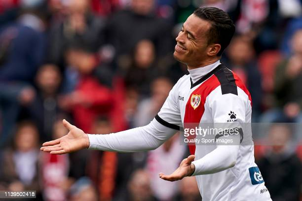 Raul de Tomas of Rayo Vallecano reacts to a missed chance during the La Liga match between Rayo Vallecano de Madrid and Real Betis Balompie at Campo...