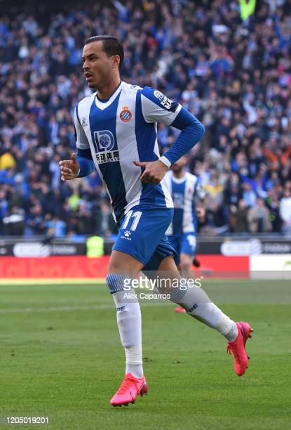 Raul de Tomas of RCD Espanyol celebrates after scoring his team's first goal during the La Liga match between RCD Espanyol and RCD Mallorca at RCDE...