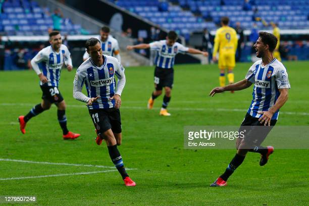 Raul de Tomas of RCD Espanyol celebrates scoring his side's first goal in the 75th minute during the La Liga Smartbank match between RCD Espanyol and...