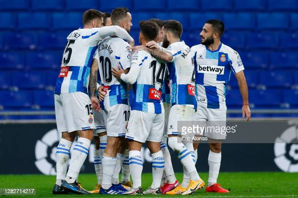 Raul de Tomas of RCD Espanyol celebrates scoring his side's first goal in the 26th minute during the La Liga Smartbank match between RCD Espanyol and...