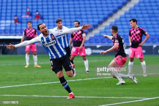 Raul de Tomas of RCD Espanyol celebrates scoring his side's first goal during the Liga Smartbank match betwen RCD Espanyol de Barcelona and CE...