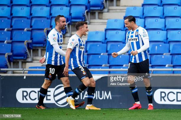 Raul de Tomas of RCD Espanyol celebrates with his teammates Sergi Darder and Adria Pedrosa after scoring the opening goal during the LaLiga SmartBank...
