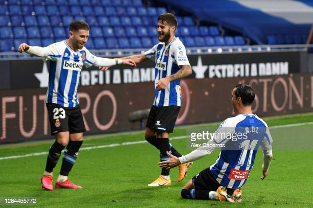 Raul de Tomas of RCD Espanyol celebrates with teammate Adrian Embarba after scoring his sides second goal during the La Liga SmartBank match between...