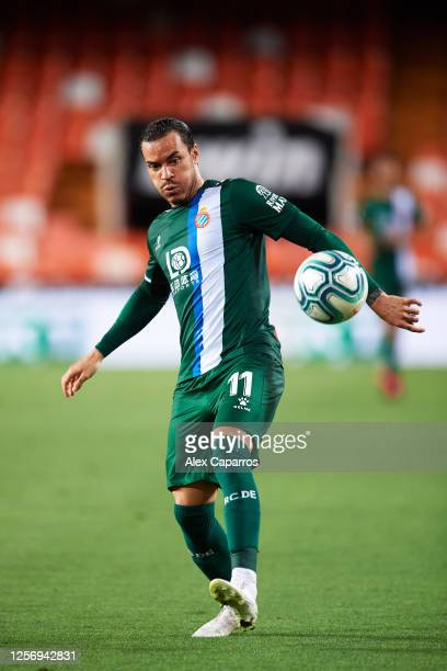 Raul de Tomas of RCD Espanyol controls the ball during the Liga match between Valencia CF and RCD Espanyol at Estadio Mestalla on July 16 2020 in...