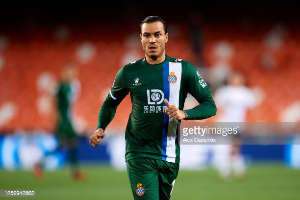 Raul de Tomas of RCD Espanyol looks on during the Liga match between Valencia CF and RCD Espanyol at Estadio Mestalla on July 16 2020 in Valencia...