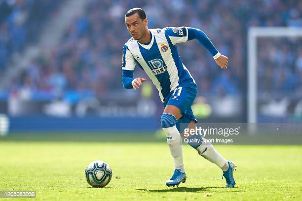 Raul de Tomas of RCD Espanyol with the ball during the Liga match between RCD Espanyol and RCD Mallorca at RCDE Stadium on February 09 2020 in...