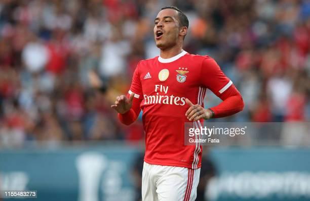 Raul de Tomas of SL Benfica celebrates after scoring a goal during the PreSeason Friendly match between Academica Coimbra and SL Benfica at Estadio...