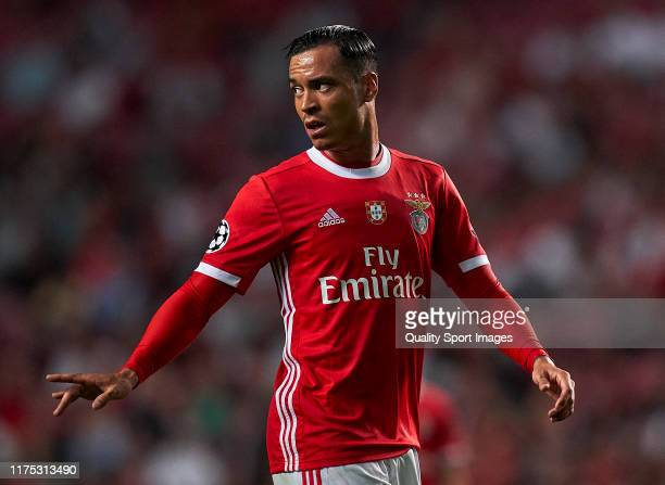 Raul de Tomas of SL Benfica looks on during the UEFA Champions League group G match between SL Benfica and RB Leipzig at Estadio da Luz on September...