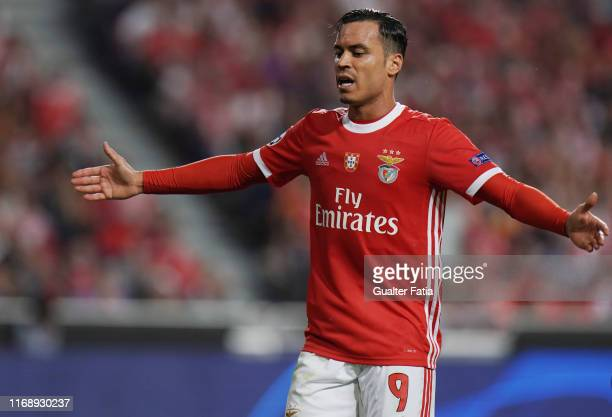 Raul de Tomas of SL Benfica reaction after missing a goal opportunity during the UEFA Champions League Group G match between SL Benfica and RB...