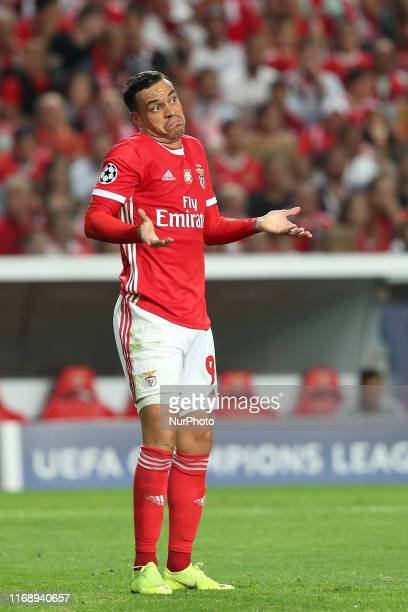Raul de Tomas of SL Benfica reacts during the UEFA Champions League Group G football match between SL Benfica and RB Leipzig at the Luz stadium in...