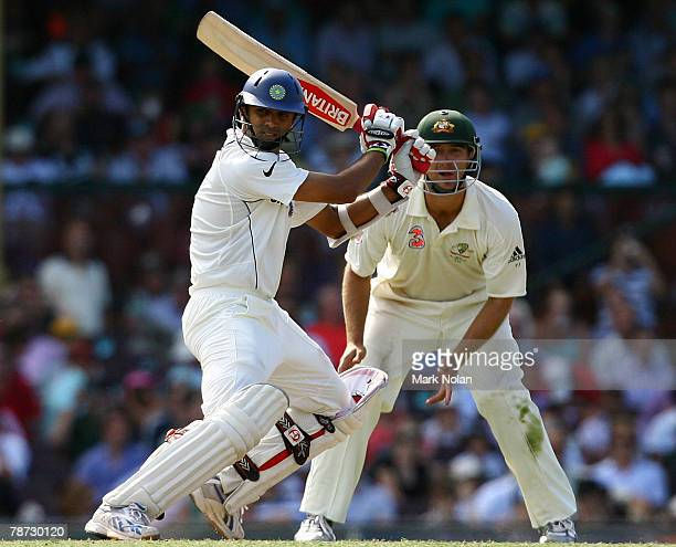 Raul Dravid of India plays a shot square of the wicket during day two of the Second Test match between Australia and India at the Sydney Cricket...
