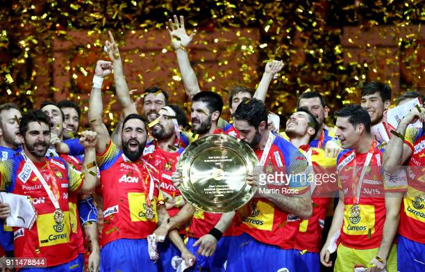 Raul Entrerrios of Spain lifts the trophy after the Men's Handball European Championship final match between Spain and Sweden at Arena Zagreb on...
