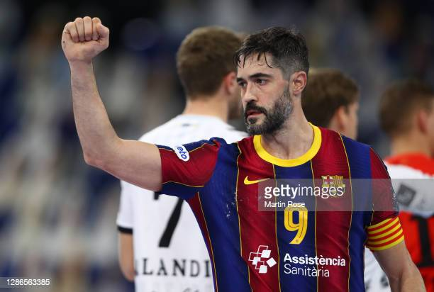 Raul Entrerrios Rodriguez of Barcelona celebrates during the DELO EHF Champions League group stage match between THW Kiel and FC Barcelona at...