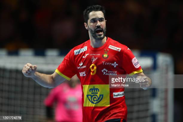 Raul Entrerrios Rodriguez of Spain celebrates a goal during the Men's EHF EURO 2020 semi final match between Spain and Slovenia at Tele2 Arena on...