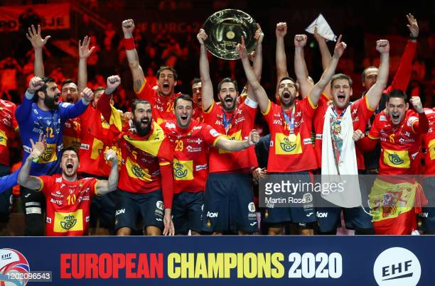 Raul Entrerrios Rodriguez of Spain lifts the trophy as Spain celebrate winning the Men's EHF EURO 2020 final match between Spain and Croatia at Tele2...
