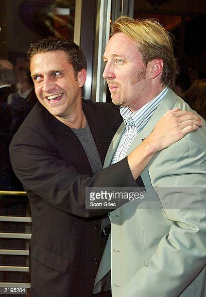 Raul Esparza and John McDaniel arrive at opening night of Big River The Adventures Of Huckleberry Finn at the American Airlines Theatre July 24 2003...