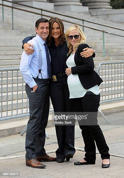 Raul Esparza Mariska Hargitay and Kelli Giddish on the set of 'Law Order SVU' on September 1 2015 in New York City
