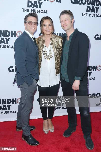 Raul Esparza Mariska Hargitay and Peter Scanavino attend the 'Groundhog Day' Broadway Opening Night at August Wilson Theatre on April 17 2017 in New...