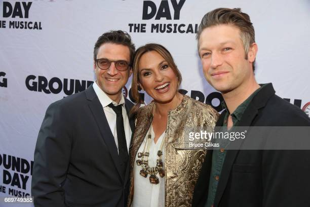 Raul Esparza Mariska Hargitay and Peter Scanavino pose at the opening night of the new musical based on the film Groundhog Day on Broadway at The...
