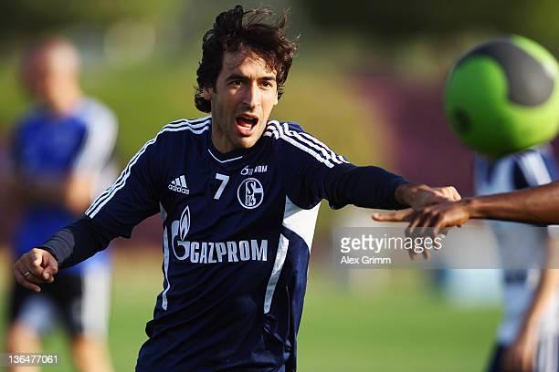 Raul exercises during a training session of Schalke 04 at the ASPIRE Academy for Sports Excellence on January 6 2012 in Doha Qatar