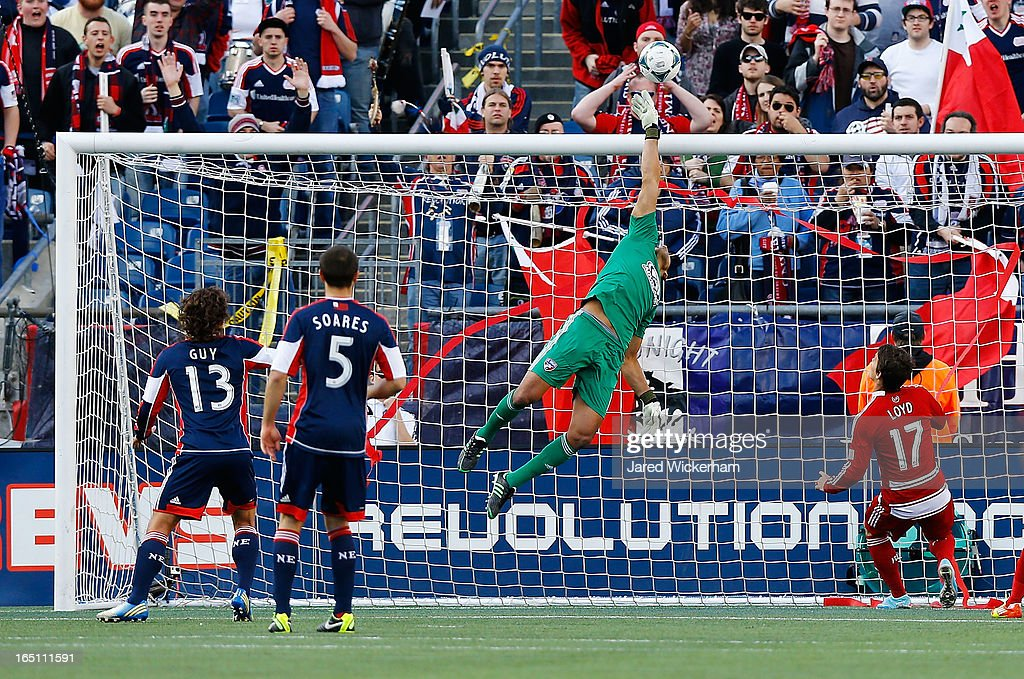 Raul Fernandez #1 of FC Dallas makes a leaping save on a shot against the New England Revolution during the game at Gillette Stadium on March 30, 2013 in Foxboro, Massachusetts.