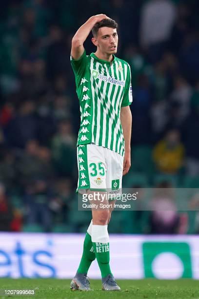 Raul Garcia De Haro of Real Betis reacts during the La Liga match between Real Betis Balompie and RCD Mallorca at Estadio Benito Villamarin on...