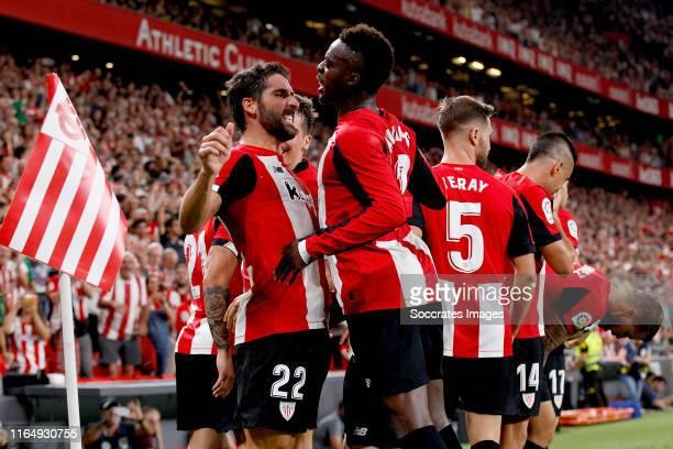 Raul Garcia of Athletic Bilbao celebates with Inaki Williams of Athletic Bilbao during the La Liga Santander match between Athletic Bilbao v Real...