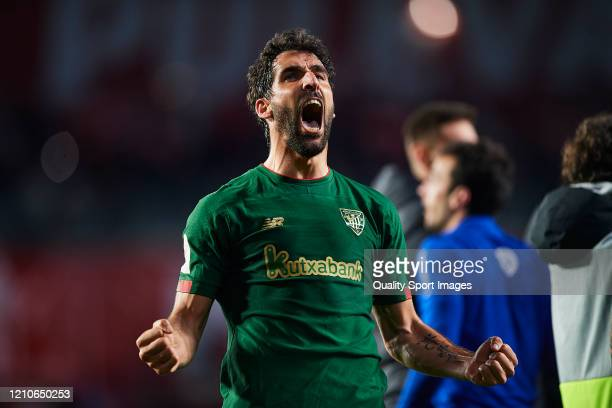 Raul Garcia of Athletic Bilbao celebrate after winning the Copa del Rey Semi Final second leg match between Granada CF and Athletic Club at Nuevo Los...