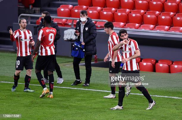 Raul Garcia of Athletic Bilbao celebrates after scoring their sides third goal during the La Liga Santander match between Athletic Club and Getafe CF...