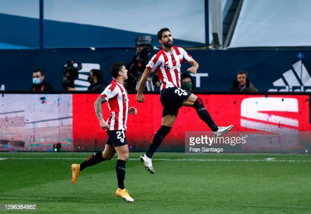 Raul Garcia of Athletic Bilbao celebrates with Ander Capa after scoring their team's second goal during the Supercopa de Espana Semi Final match...