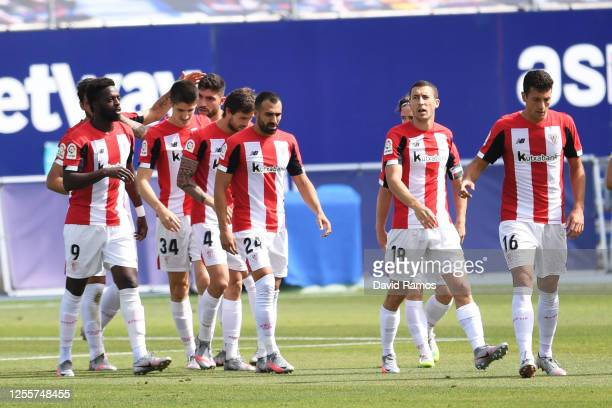 Raul Garcia of Athletic Bilbao celebrates with teammates after scoring his team's first goal during the Liga match between Levante UD and Athletic...