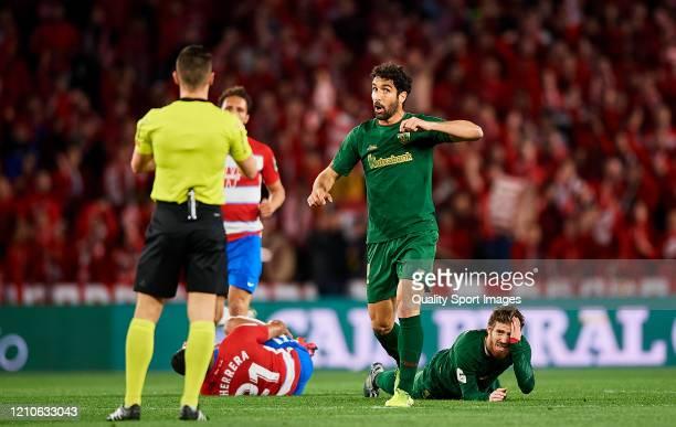Raul Garcia of Athletic Bilbao reacts during the Copa del Rey Semi Final second leg match between Granada CF and Athletic Club at Nuevo Los Carmenes...