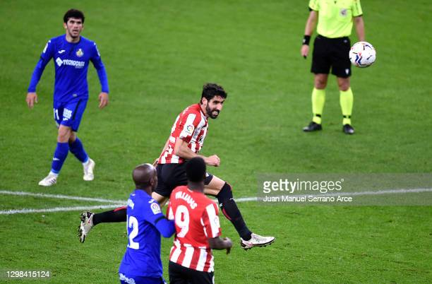 Raul Garcia of Athletic Bilbao scores their sides third goal during the La Liga Santander match between Athletic Club and Getafe CF at Estadio de San...