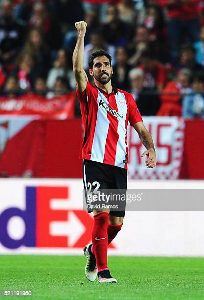 Raul Garcia of Athletic Club Bilbao celebrates scoring his team's second goal with a header during the UEFA Europa League quarter final second leg...