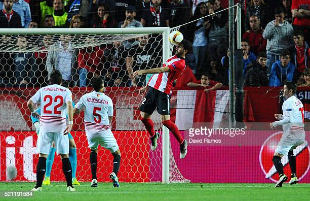 Raul Garcia of Athletic Club Bilbao scores his team's second goal with a header during the UEFA Europa League quarter final second leg match between...