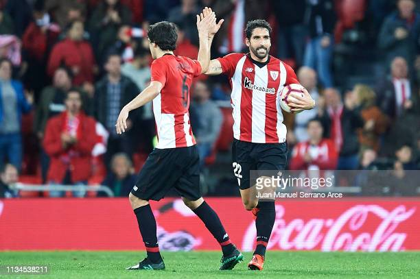 Raul Garcia of Athletic Club celebrates after scoring during the La Liga match between Athletic Club and RCD Espanyol at San Mames Stadium on March...