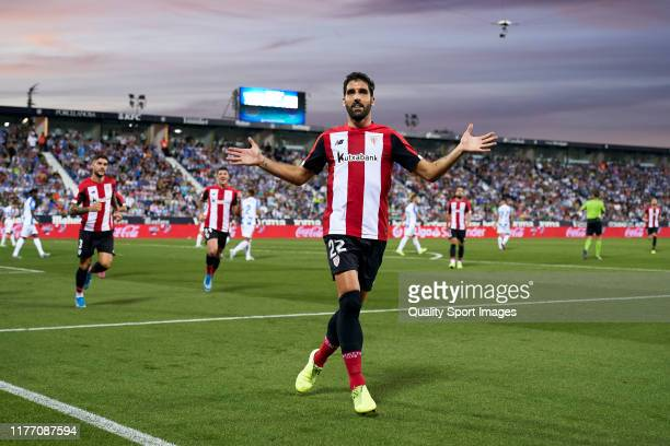 Raul Garcia of Athletic Club celebrates after scoring his team's first goal during the Liga match between CD Leganes and Athletic Club at Estadio...