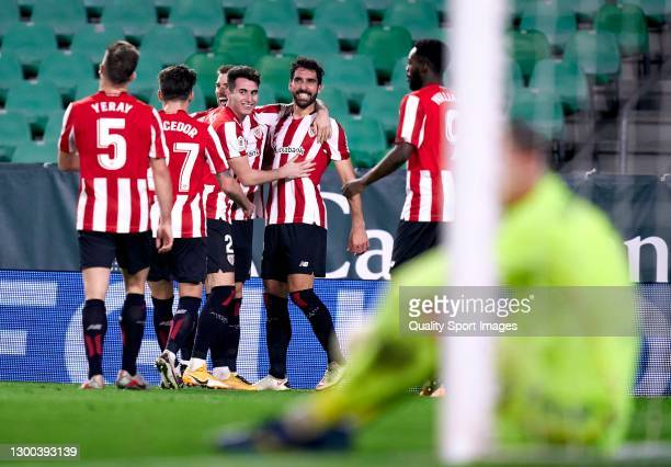 Raul Garcia of Athletic Club celebrates after scoring his team's first goal with his teammates during the Copa del Rey Quarter-Final match between...