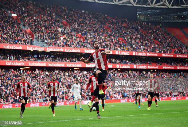 Raul Garcia of Athletic Club celebrates after scoring the opening goal during the Liga match between Athletic Club and Granada CF at San Mames...
