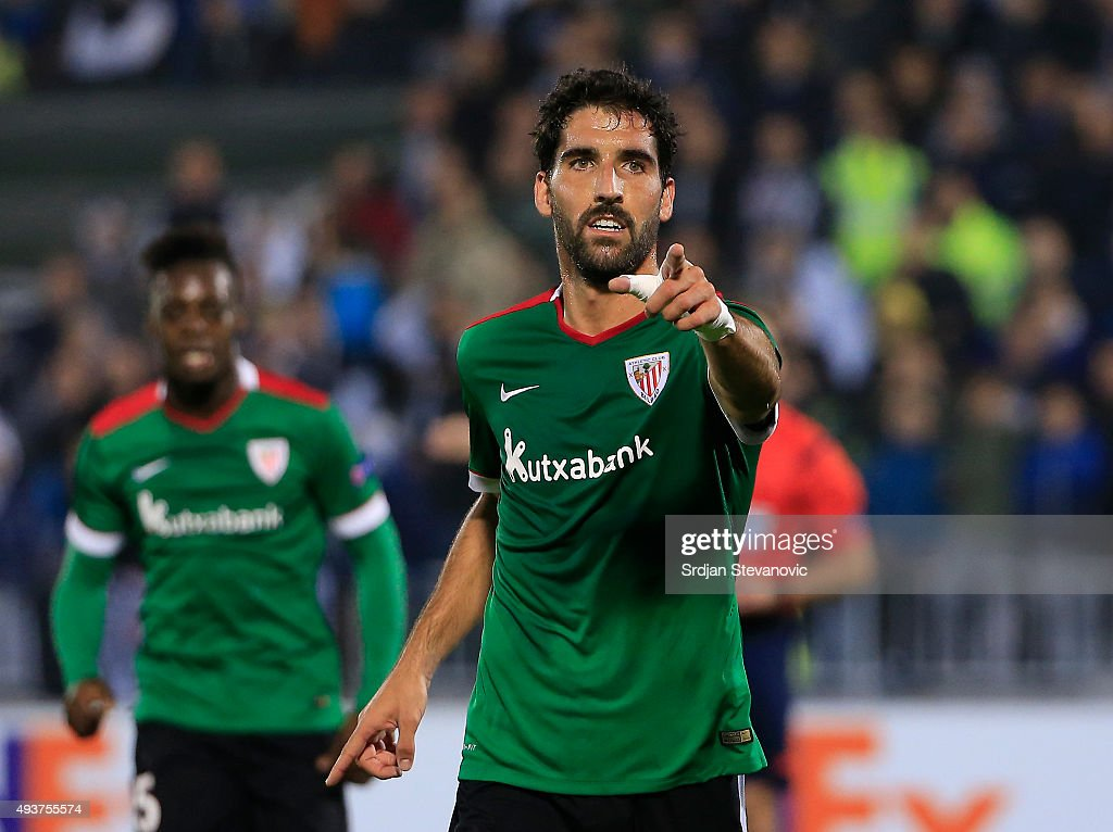 Raul Garcia of Athletic Club celebrates scoring a goal during the UEFA Europa League match between FK Partizan v Athletic Club at Stadium FK Partizan on October 22, 2015 in Belgrade, Serbia.