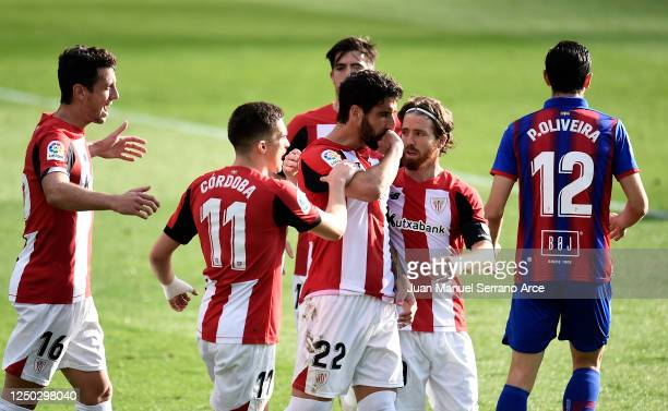 Raul Garcia of Athletic Club celebrates with teammates after scoring his team's first goal during the La Liga match between SD Eibar SAD and Athletic...
