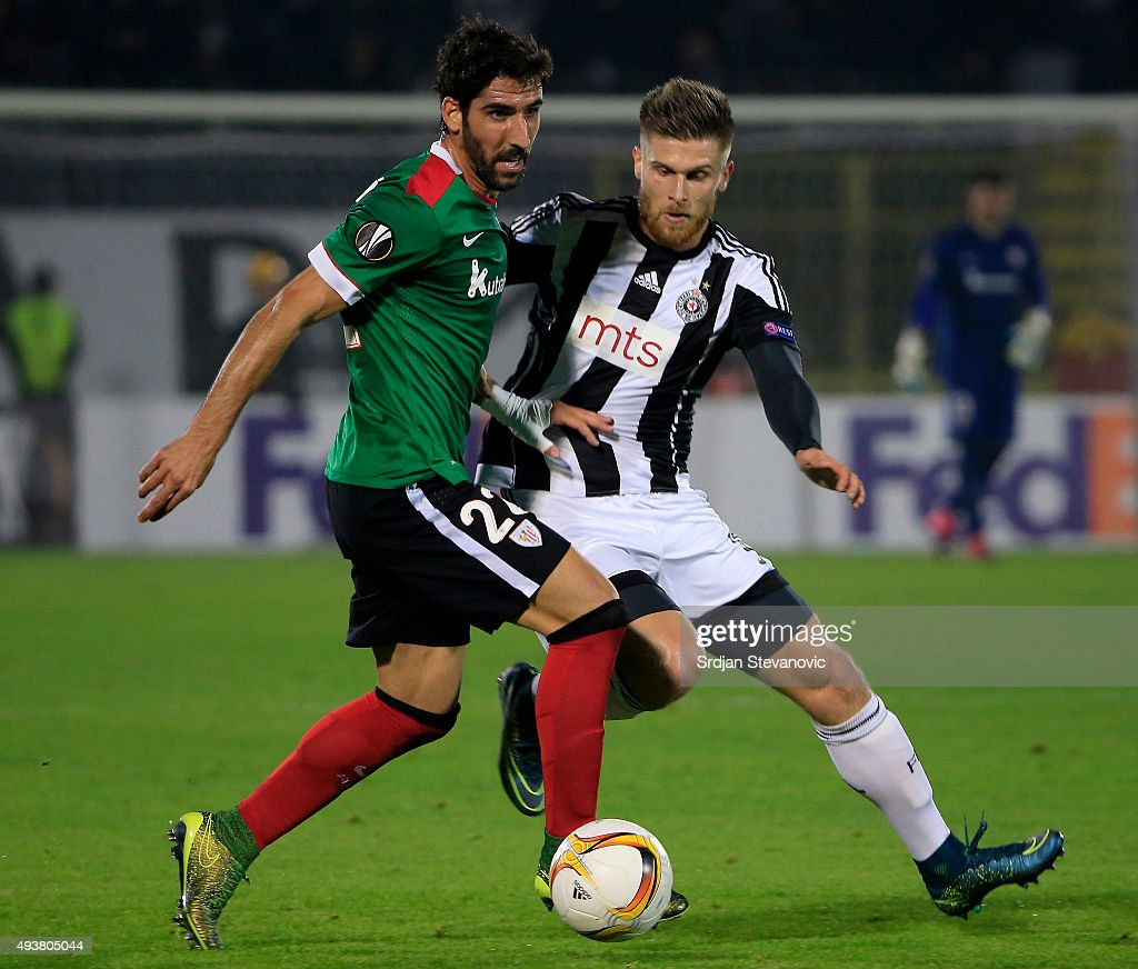 Raul Garcia (L) of Athletic Club in action against Alen Stevanovic (R) of FK Partizan during the UEFA Europa League match between FK Partizan v Athletic Club at Stadium FK Partizan on October 22, 2015 in Belgrade, Serbia.