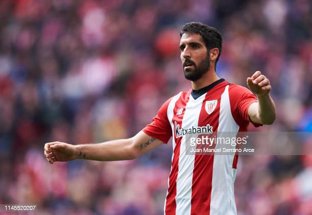Raul Garcia of Athletic Club reacts during the La Liga match between Athletic Club and Deportivo Alaves at San Mames Stadium on April 27 2019 in...