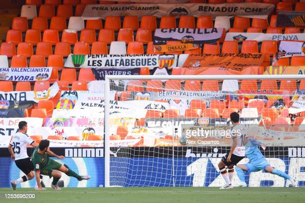 Raul Garcia of Athletic Club scores his team's first goal during the Liga match between Valencia CF and Athletic Club at Estadio Mestalla on July 01...