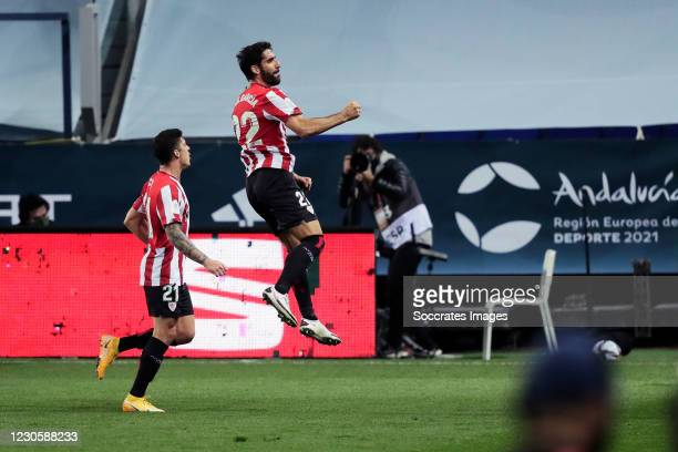 Raul Garcia of Athletic de Bilbao celebrates 0-2 with Ander Capa of Athletic de Bilbao during the Spanish Super Cup match between Real Madrid v...