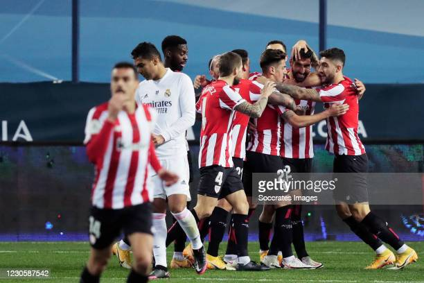 Raul Garcia of Athletic de Bilbao celebrates 1-0 with team during the Spanish Super Cup match between Real Madrid v Athletic de Bilbao at the La...