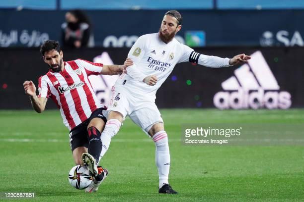 Raul Garcia of Athletic de Bilbao,Sergio Ramos of Real Madrid during the Spanish Super Cup match between Real Madrid v Athletic de Bilbao at the La...
