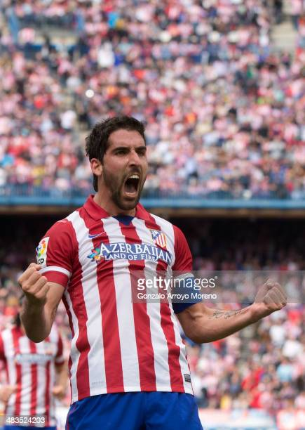 Raul Garcia of Atletico de Madrid celebrates scoring their opening goal during the La Liga match between Club Atletico de Madrid and Villarreal CF at...