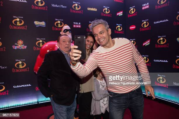 Raul Gil Adriane Galisteu and Otaviano Costa attend the Sao Paulo Premiere of Incredibles 2 at Shopping Market Place on June 23 2018 in Sao Paulo...